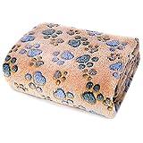 Soffice coperta for cani morbida for animali domestici Calda flanella in pile lavabile coperta for tiro piccola media grande cuccia for gatto gattino cucciolo ( Color : Camel Paw , Size : S 70x80cm )
