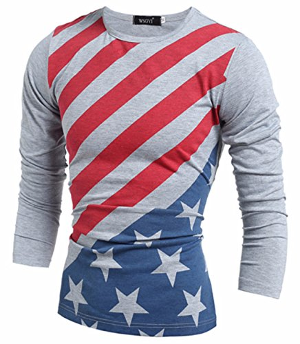Men's Fashion Warm O-neck Long Sleeve Flags Pullovers Casual Sweatshirts Grey