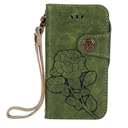 ISAKEN Kompatibel mit iPhone 4 4S Hülle, PU Leder Flip Cover Brieftasche Geldbörse Wallet Case Handyhülle Tasche Schutzhülle mit Handschlaufe Strap Standfunktion für iPhone 4 4S - Rose Schwarz Grün