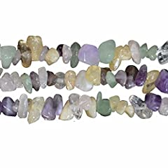 Idea Regalo - Mix Multicolor Cristallo e Pietra Preziosa Irregolari Chips Perle 3-8mm per fare Collane Bracciali Gioielli Circa 80cm un Filo