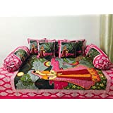 Rang International Fabric Cotton Jaipuri Handicraft Miniature Print Rajasthani Traditional Diwan Set,(Set Of 8) 1 Single Bedsheet (90 X 60 Inches), 5 Cushion Covers (16 X 16 Inches) And 2 Boester Covers (31 X 16 Inches), TC-210, Multi