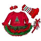 YuanDian Baby Mädchen 4tlg Kleid Weihnachten Bekleidung Neugeborenes Outfit Kleinkind Weihnachtskostüm Strampler Kleid + Stirnband + Beinwärmer + Schuhe Babykleidung 4# Baum Grüne Schuhe 6-12 Monate