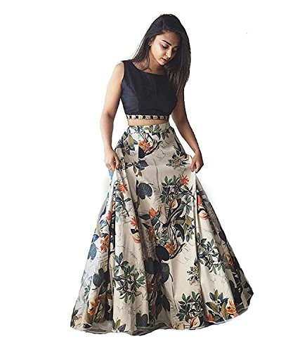 SKY WORLD Women's Western Wear Banglori silk Printed lahenga (SW_658)