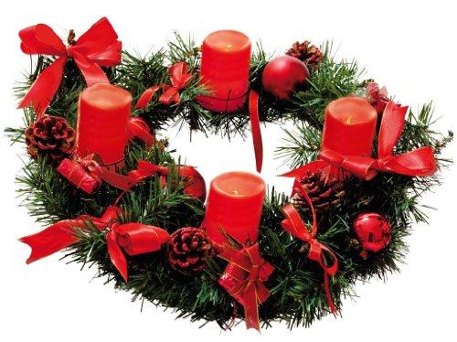 floristikvergleich.de Adventskranz mit 4 Wachs LED Kerzen, rot