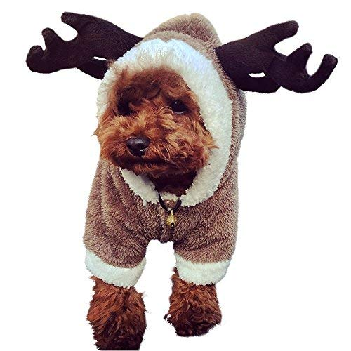 LUCKSTAR Hundekleidung - Elchkostüm für Weihnachten, Elch, cool, süß, Haustiere, Cosplay, weich, warm, Korallen-Fleece, Winterkleidung, Jumpsuit für Weihnachten, Party, Geschenke, Haustierzubehör, S