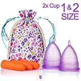 Melyth Menstrual Cups - (Large & Small) - Pre and Post Childbirth Reusable Period Cups - Find Your Perfect Fit - Best Alternative to Tampons and Cloth Sanitary Napkins -
