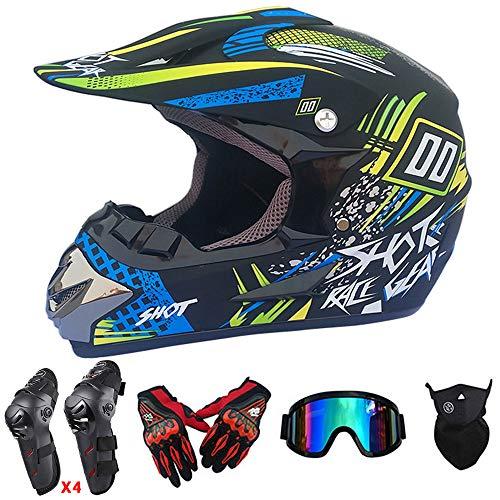 QYTK Tout-Terrain Casques Motocross Adulte, ET-84 Full Face Casque de Moto Protection Set avec Gants Masque Lunettes Genouillères Coudières pour ATV MTB Ski Fond en Plein Air, Camouflage,M(56~57CM)