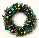 Adventskranz Weihnachtskranz bunt Kugeln, Sterne, Tanne Ø 33 cm