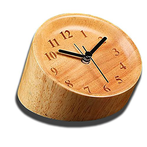 Farbverlauf Zylindrische Holz Schreibtisch Uhr, saytay Digital Nachttisch Silent 15,2cm Wecker Einzigartige Mehrwinkel Beobachtung Handarbeit Tisch Uhr, umweltfreundlich und exquisite, tolles Schlafzimmer Büro Decor holz
