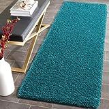 Blaugrün Weicher Hochflor Shaggy Matten Maschinenwaschbar Rutschfeste Schlafzimmer Teppiche (7Größen erhältlich), plastik, rose, 66x200cm (Runner)
