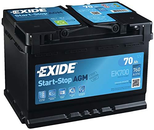 Exide EK700stop Start 12V 70Ah 760CCA AGM VRLA batteria auto VAG 000915105CC/VAG 7P0915105e/VAG 5GM915105AA-3anni di garanzia (controllare le dimensioni prima dell' acquisto)