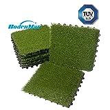 BodenMax Erba sintetica Fare clic su Piastrelle per pavimenti Impostare 30 x 30 cm Piastrella per terrazze Piastrella per terrazze Piastrella per piastrelle in plastica Piastrelle con inserti in erba (8 pezzi = 0,72 mq ca.)