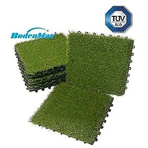 bodenmax kunstrasen click bodenfliesen set 30 x 30 cm terrassenfliesen rasen terrassenplatte. Black Bedroom Furniture Sets. Home Design Ideas
