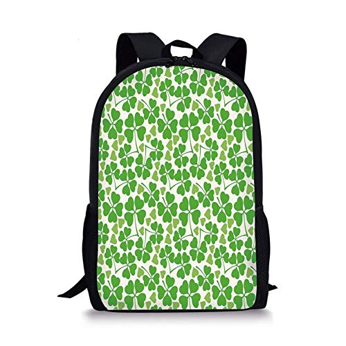 School Bags Irish,Gaelic Nature Garden Decor Spring Clovers with Cute Hearts Freshness Decorative,Lime Green Pistachio White for Boys&Girls Mens Sport Daypack (Irish Spring-sport)