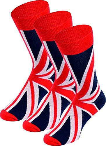 Elegante da uomo Union Jack Gran Bretagna Design Calzini Di Cotone, Taglia UK 6-11 3Pairs Taglia unica