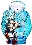 Silver Basic Jungen Pullover Dragon Ball 3D-Druck Langarm Kapuzenpullover Bunte Sweatshirt mit vielen Muster, Goku in Rot, XL