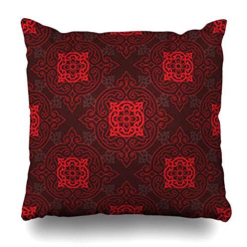 WBinHua Zierkissenbezüge, Art Red Chinese Oriental Pattern Blue Asian Korean Japanese Carpet Floral Black Japanesebackgrounds Pillowcase Square Size 18 x 18 Inches Home Decor Cushion Cases -
