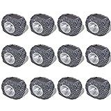 tidyard Foco Decorativo Solar LED en Forma de Piedras para el Jardín con 12 uds Gris, Panel Solar de 2 V; 25 mA
