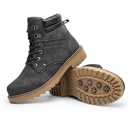 Taottao, Herren-Schnürstiefel, knöchelhoch, flacher Rand, für Camping und zum Wandern, grau, 43 (Pelz-knie-boot)