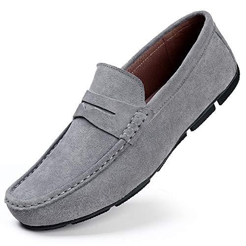 HKR Herren Klassische Mokassin Weich Comfort Wildleder Loafers Schuhe Minimalistisch Fläche Fahren Schuhe Bootsschuhe Slippers Grau EU 41 Flats Loafers Slip