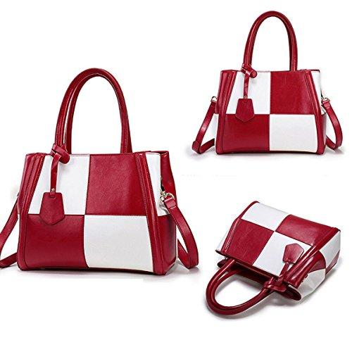 Frauen Schulter Farbblock Beutel Segeltuch Taschen Messenger Handtasche Handtasche Red