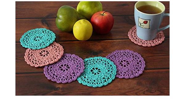 set di 6 centrini Sottobicchieri colorati di cotone rotondi a uncinetto