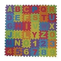PetHot 36pcs Soft Foam Play Mat for Baby Kids Play Foam Mat Alphabet Number Puzzle EVA (15 x 15cm)