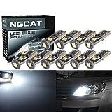 NATGIC 10pcs T10 Birnen-Licht extremer Brigh 450LM 3030 Chipset für Auto-Innenbeleuchtung, Dach-Haube, Karten-Licht, Tür-Höflichkeits-Licht, Kfz-Kennzeichen-Lichter, kompaktes Keil-Licht T10 168 194 2825 Xenon-Weiß