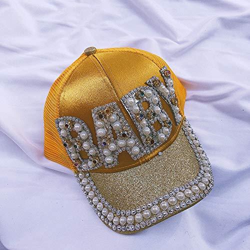 zhuzhuwen 2019 Parent-Child hat Female Children\'s Visor Breathable mesh Cap European and American Letters Fashion Rhinestone Cap 8 Child Adjustable