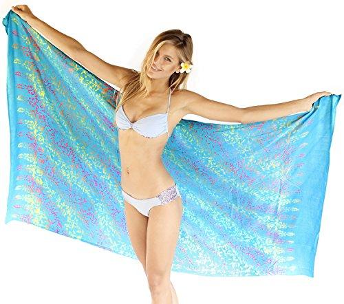 LA LEELA Pareo weicher Viskose Anthemion Bedecken Strand Sarong 78x43 inchturquoise up