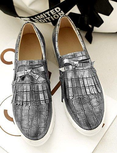 ZQ gyht Scarpe Donna - Sneakers alla moda - Tempo libero / Casual / Sportivo - Plateau / Punta arrotondata - Basso - Finta pelle -Bianco / , golden-us10.5 / eu42 / uk8.5 / cn43 , golden-us10.5 / eu42  silver-us8 / eu39 / uk6 / cn39