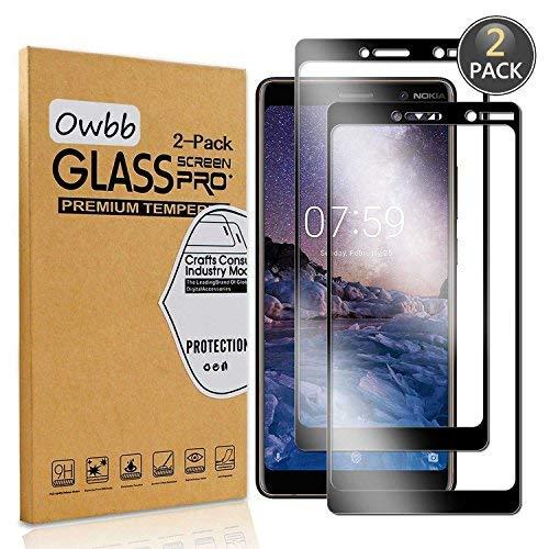 Owbb [2 Stück] Schwarz Gehärtetes Glas Display schutzfolie Für Nokia 7 Plus Full Coverage Schutz 99{7d740d1e89cf57ce2290d2175c2885712edf712d42f03531c9621b14bb29f846} High Transparent Explosionsgeschützter Film