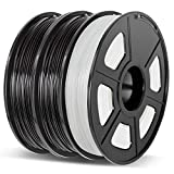 Enotepad 3D Printer Filament Set PLA+ 1.75mm 3x500g Black-Black-Translucent White, PLA Plus +/- 0.02mm 3D Printing Filament, for 3D Printer and 3D pen
