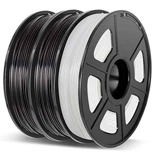 Enotepad 3D Printer Filament Set PLA+ 1.75mm 3x500g Black-Black-Translucent White, PLA Plus +/- 0.02mm 3D Printing Filament, for 3D Printer and 3D pen.