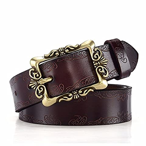 LONFENNE Women embossed needle buckle leather jeans belt casual decoration