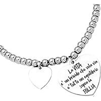 Beloved Bracciale da donna, braccialetto in acciaio emozionale - frasi, pensieri, parole con charms - ciondolo pendente…