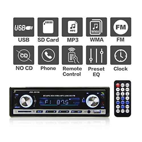 Autoradio MP3 mit Bluetooth von POMILE, Single Din Auto Radio USB Empfänger MP3-Player Apple iPod / iPhone Control, Freisprechfunktion und integriertes Mikrofon) schwarz