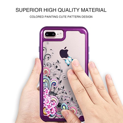 """For iPhone 7 Plus 5.5"""" Clear Case - Colorful Painting 2-in-1 Dual Layer Protection Anti-scratch Shockproof with Hard PC Bumper + Soft TPU Back Cover Case for iPhone 7 Plus - CuiFlower Butterfly"""