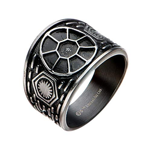 1b1a9d39c SalesOne International, LLC Star Wars: The Last Jedi Tie Fighter Signet  Stainless Steel Ring