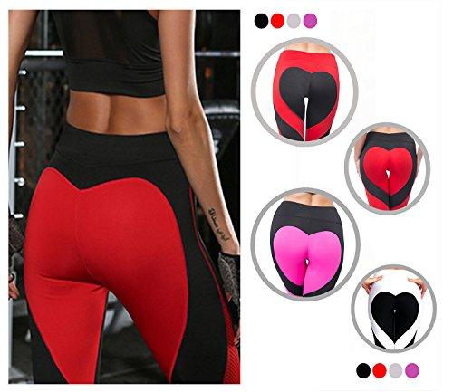 Yogahose Patch-Design Herzförmiges Muster Fitness Leggings Hosen Für Damen, Schwarz, Gr. M (Patch-fitness)