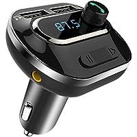 Comsoon Transmisor FM Bluetooth coche, inalámbrico, adaptador de radio, reproductor de MP3 con puertos de carga USB Dual, soporte de tarjeta TF + U Disk, manos libres para iPhone, Samsung, etc.