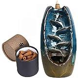 Räucherstäbchenhalter mit 60PCs Rückfluss Räucherkegel Räucherstäbchen Halter, Chinesische Keramik Rückfluss Räuchergefäß
