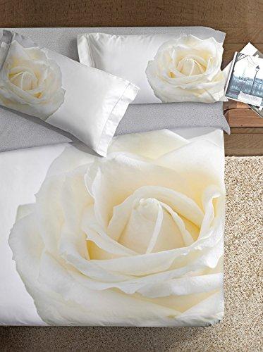 Ipersan Set Copripiumino Piazzato Fine Art Disegno Rosa Grigio/Bianco matrimoniale 255 x 200 cm