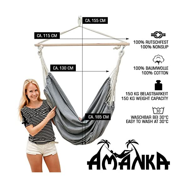 AMANKA Swing Hammock 185x130cm EXTRA-SAFE max 150Kg large cotton hanging chair XXL suspended swinging fabric seat Grey AMANKA SAFE HANGING SYSTEM - with this model there is no chance that the cloth slips out of the bar: our sturdy wooden bar is 115cm long and equipped on both ends with 3 holes in order to tie the ropes tightly and prevent any accident! COMFORTABLE - the breathable cotton fabric measures approx. 185cm in width and 130cm in length. This means that it can be used by any member of the family and not just for sitting down but also for comfortably lying down. Supported weight: max. 150kg 100% NATURAL COTTON - the fabric is resistant and durable (320g/m²), delicate even on direct contact with your skin. The huge cloth is hung on 2 S-shaped metal hooks and can be quickly washed in the washing machine at 30°C 2