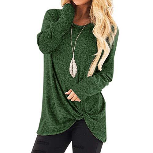 ➤Refill➤Damen Tshirt Oberteile Pulli Langarmshirt Rundhals Ausschnitt Hemd Sweatshirt,Asymmetrisch Saum Sportswear-Shirts & Blusen für Damen Bluse Tops -