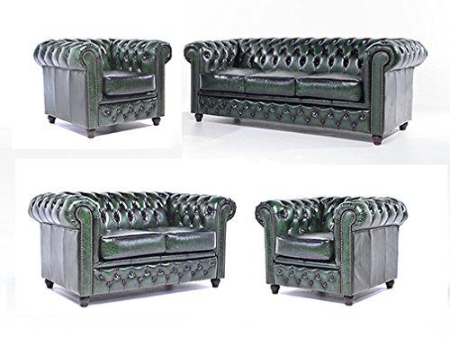 Original Chesterfield Sofas und Sessel – 1 / 1 / 2 / 3 Sitzer – Vollständig Handgewaschenes Leder – Antik Grün