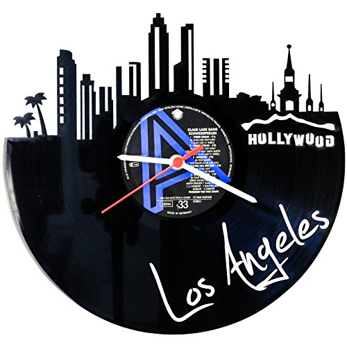 GRAVURZEILE Skyline Los Angeles Wanduhr aus Vinyl Schallplattenuhr Upcycling Design Uhr Wand-Deko Vintage-Uhr Wand-Dekoration Retro-Uhr Made in Germany (Los Vinyl Angeles-wand)