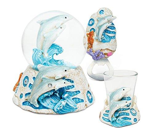 Puzzled Dolphin resina di pietra collezione incluso Snow Globe, magnete Bo