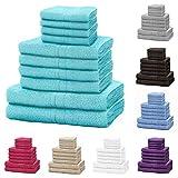 Lions Set di Asciugamani della Famiglia Bale, 10 Pezzi, 100% Cotone, 4 Viso, 4 Mani, 2 Asciugamani da Bagno, Accessori da Bagno Crema