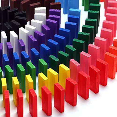 Hestya 480 Stücke Bunte Holz Dominosteine Set, Jungen und Mädchen Spiel Pädagogisches Spiel Gebäude und Stapeln Domino (Holz Domino Set)